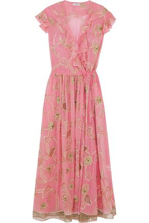 ASHISH Embroidered embellished silk-georgette wrap dress