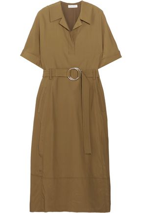 BARBARA CASASOLA Belted taffeta midi dress