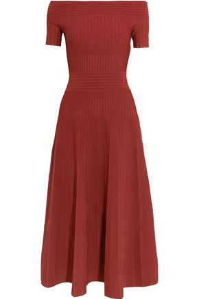 BARBARA CASASOLA Off-the-shoulder paneled stretch-knit midi dress