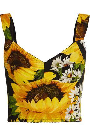 DOLCE & GABBANA Floral-print cady bra top