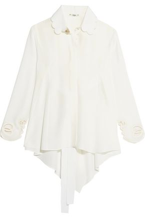 FENDI Open-back scalloped silk crepe de chine shirt