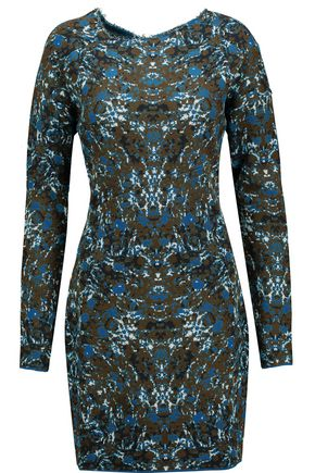 M MISSONI Asymmetric jacquard-knit cotton-blend mini dress