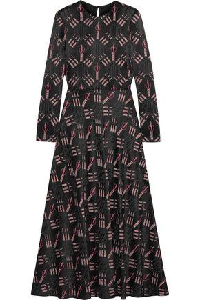 VALENTINO Printed crepe midi dress