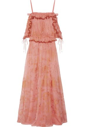 VALENTINO Off-the-shoulder ruffled printed silk-chiffon gown