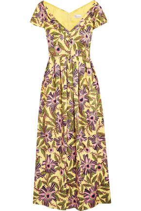 REDValentino Pleated floral-print cotton-blend midi dress