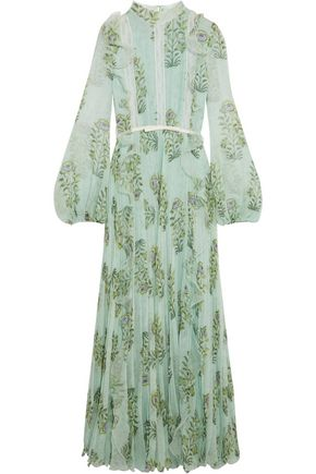 GIAMBATTISTA VALLI Ruffled lace-trimmed floral-print silk-chiffon gown