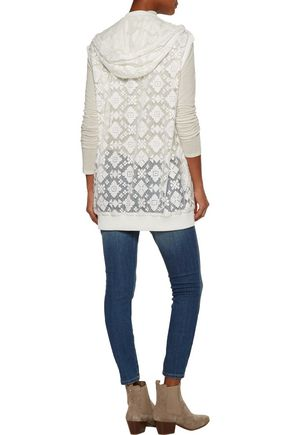 JUST CAVALLI Embroidered lace hooded vest