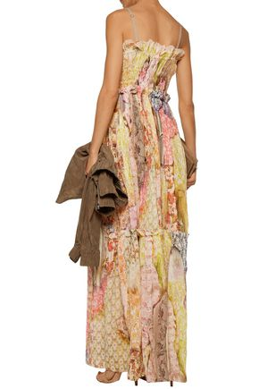 JUST CAVALLI Pleated floral-print cotton-blend gauze maxi dress