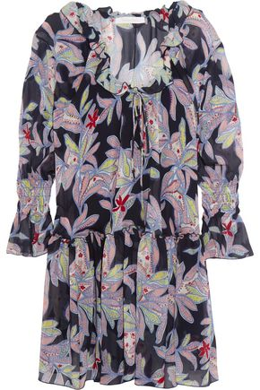 SEE BY CHLOÉ Ruffled floral-print silk-crepe dress