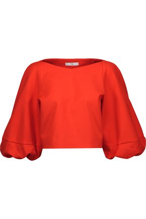 TIBI Agathe cropped gathered cady top