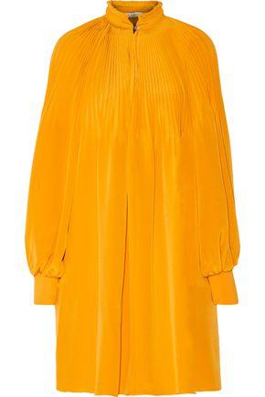 TIBI Plissé silk crepe de chine mini dress