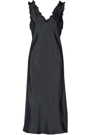 TIBI Gemma ruffled satin-twill midi dress