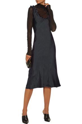 TIBI Gemma ruffled satin-twill midi dress