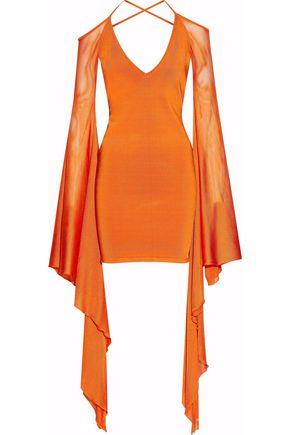 BALMAIN Cold-shoulder stretch-knit mini dress