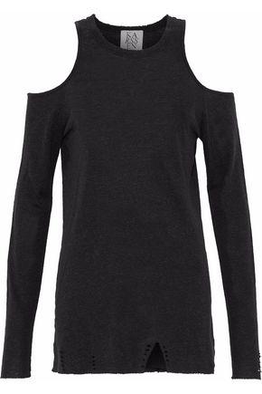 ZOE KARSSEN Cold-shoulder distressed linen-blend top