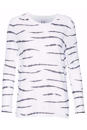 ZOE KARSSEN Printed cotton and linen-blend T-shirt