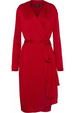 LANVIN Satin-crepe wrap dress