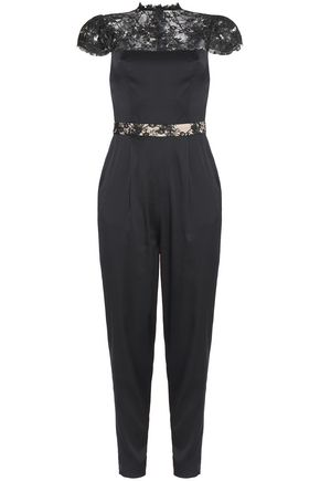 ALICE + OLIVIA Pleated satin and lace jumpsuit