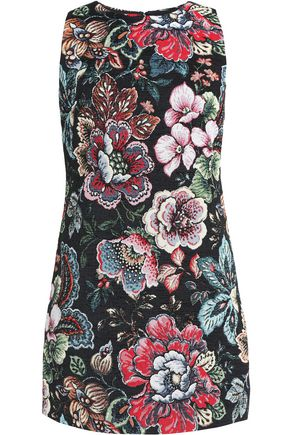 ALICE + OLIVIA Flared floral-jacquard mini dress