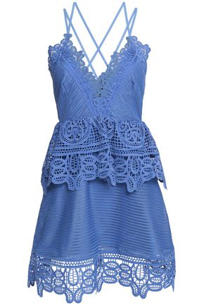 SELF-PORTRAIT Macramé lace and jacquard mini dress