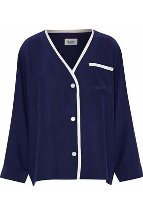 SLEEPY JONES Two-tone silk pajama top