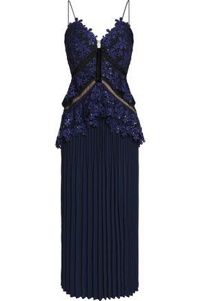 SELF-PORTRAIT Macramé lace-paneled plissé-crepe midi dress