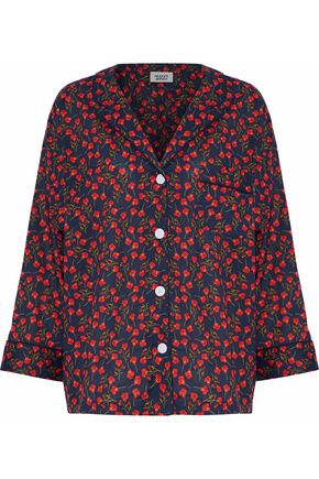 SLEEPY JONES Floral-print cotton pajama shirt