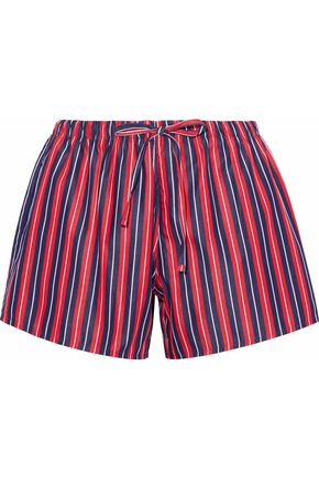SLEEPY JONES Striped cotton pajama shorts
