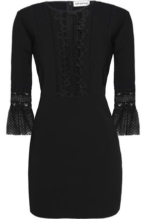 SELF-PORTRAIT Lace-trimmed wvoen mini dress