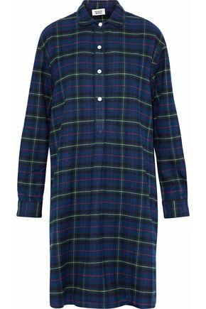 SLEEPY JONES Checked cotton-flannel nightshirt