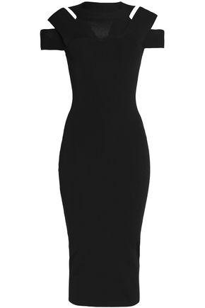 SELF-PORTRAIT Cutout stretch-ponte midi dress