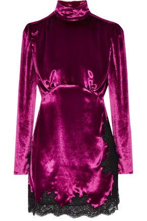 ALESSANDRA RICH Lace-trimmed velvet mini dress