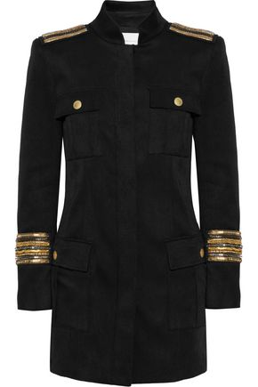 PIERRE BALMAIN Chain-embellished stretch-twill jacket