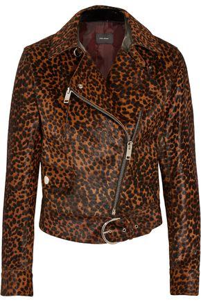 ISABEL MARANT Leopard-print calf hair biker jacket