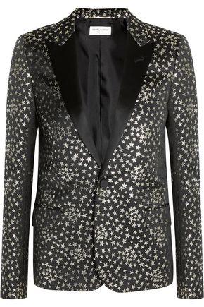 SAINT LAURENT Satin-trimmed jacquard blazer