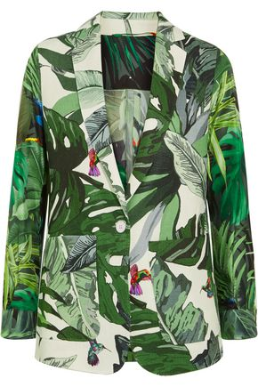 MAX MARA Printed linen and silk-twill blazer