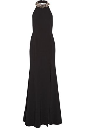 MARCHESA NOTTE Embellished stretch-crepe gown