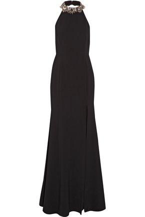 MARCHESA NOTTE Embellished crepe halterneck gown
