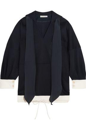 CHLOÉ Oversized silk-trimmed cotton-jersey top