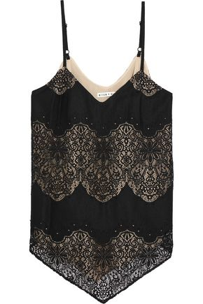 ALICE+OLIVIA Emmeline crepe and crocheted lace camisole