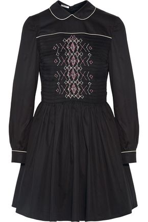 MIU MIU Smocked embroidered cotton mini dress