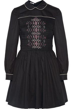 MIU MIU Smocked embroidered cotton mini dress