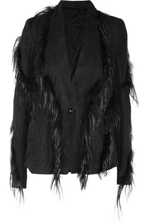 RICK OWENS Reversible goat hair-trimmed suede jacket