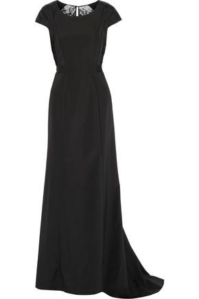 OSCAR DE LA RENTA Cutout lace-paneled stretch-cady gown