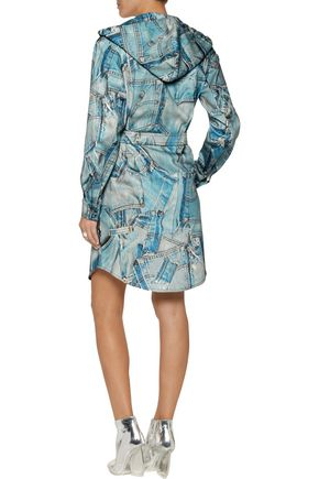 MOSCHINO Printed denim hooded dress