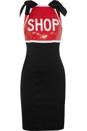 MOSCHINO Sequin-embellished stretch-satin mini dress