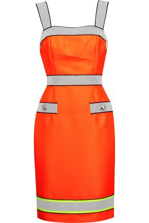 MOSCHINO Reflective-trimmed neon twill dress