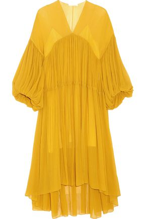 CHLOÉ Tiered silk-mousseline midi dress