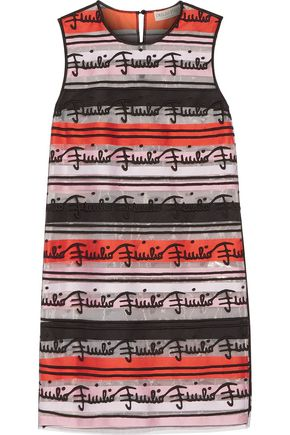EMILIO PUCCI Appliquéd cotton-blend and striped tulle mini dress