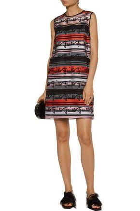 EMILIO PUCCI Appliquéd cotton-blend and striped tulle mini dress